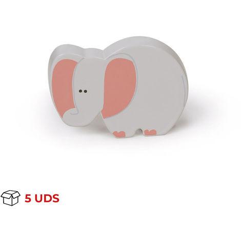 Boîte avec 5 Bouton de style enfant, en plastique (ABS) et en forme d'éléphant.