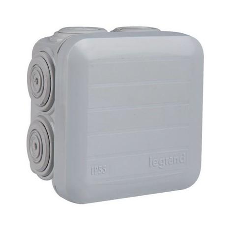 Boîte carrée 7 embouts à entrée directe Plexo Legrand Finition Gris 7035 Dimension 65 x 65 x 40 mm Type Couvercle enclipsable Nbre d'entrées 7 Ø Entrée 4 à 20 mm