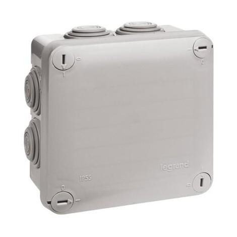 Boîte carrée 7 embouts à entrée directe Plexo Legrand Type Couvercle enclipsable Ø Entrée 4 à 20 mm Dimension 80 x 80 x 45 mm Nbre d'entrées 6 Finition Blanc 9010