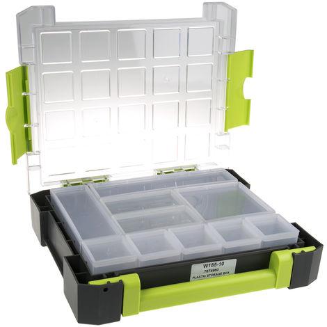 Boite compartimentée, 60 Compartiments, Plastique Gris, 30mm x 122mm x 161mm