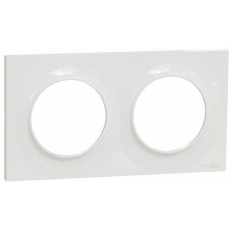 Boite de 10 plaques Odace Styl - Blanc brillant - Double horizontale / verticale 71mm