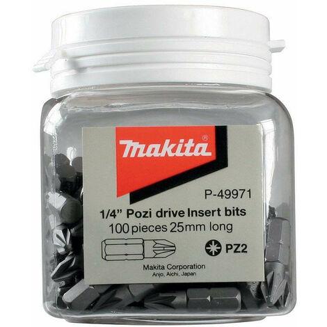 Boîte de 100 embouts d'insertion hexagonaux PZ2 25mm - MAKITA P-49971