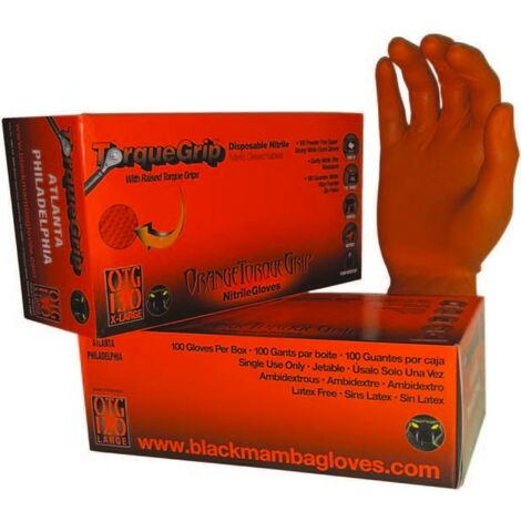 Boîte de 100 gants Blackmamba jetables nitrile orange Grip Snakeskin - Blackmamba - BLM0402*
