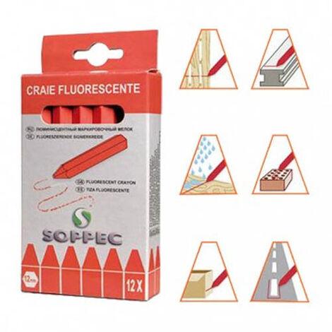 Boîte de 12 craies de marquage Fluorescente - ROUGE