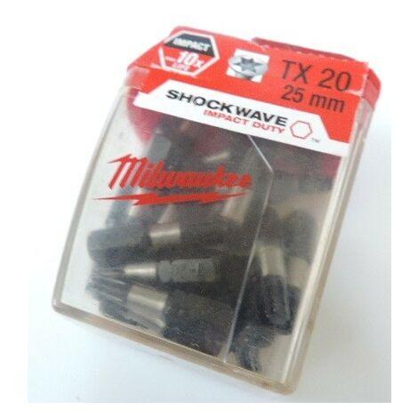 Boîte de 25 Embouts Torx TX20 longueur 25mm pour visseuse Shockwave MILWAUKEE 4932352555
