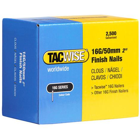 Boîte de 2500 clous de finition de type 16G L. 50 mm - TA-0298 - Tacwise - -