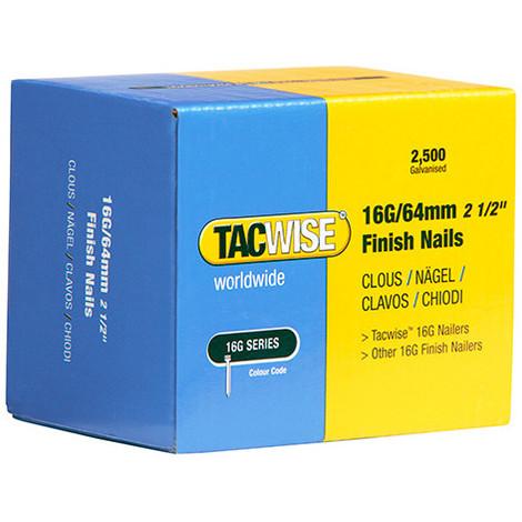 Boîte de 2500 clous de finition de type 16G L. 64 mm - TA-0301 - Tacwise - -