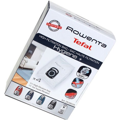 Boïte de 4 sacs haute filtration Hygiène (ZR200520) Aspirateur 255400 ROWENTA, MOULINEX