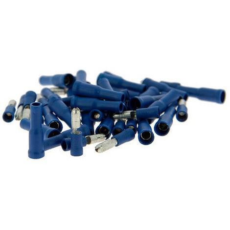 Boîte de 50 cosses Mâles + femelles - rondes - isolées - bleues - XL Tech