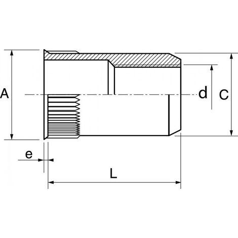 Boite de 50 écrou cranté à sertir ACTON tête affleurante inox A2 - Ø6 mm - 626336