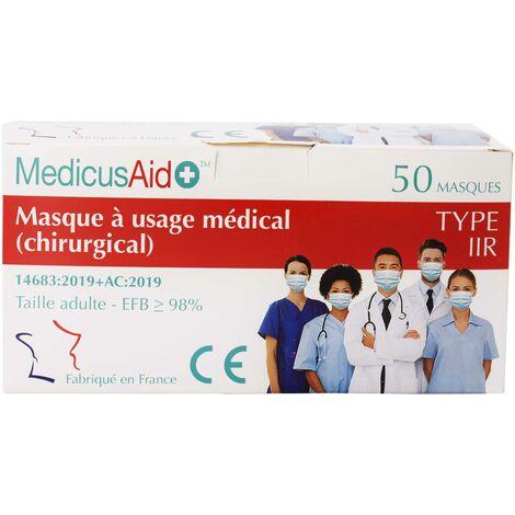 Boite de 50 masques chirurgicaux Made in France - Type IIR - bleu