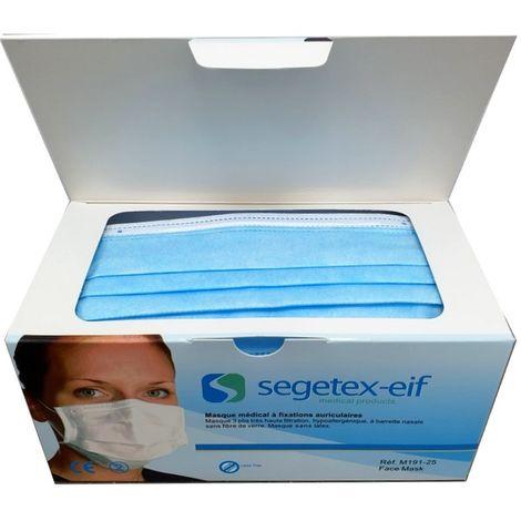 Boite de 50 masques de protections respiratoires SEGETEX médical très haute filtration