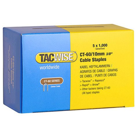 Boîte de 5000 agrafes pour câble de type CT60 L. 10 mm - TA-0354 - Tacwise - -