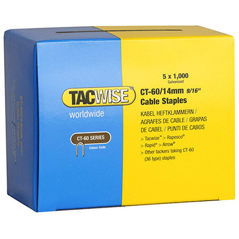 Boîte de 5000 agrafes pour câble de type CT60 L. 14 mm - TA-0356 - Tacwise - -