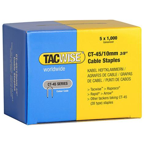 Boîte de 5000 agrafes pour câble type CT45 L. 10 mm blanches - TA-0353 - Tacwise - -