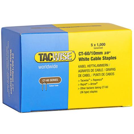 Boîte de 5000 agrafes pour câble type CT60 L. 10 mm blanches - TA-1094 - Tacwise - -
