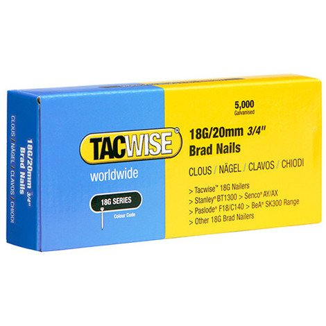 Boîte de 5000 clous de finition de type 18G L. 20 mm - TA-0395 - Tacwise - -