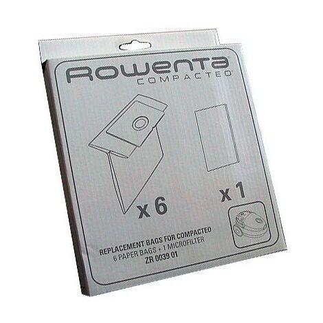 Boite de 6 sacs + 1 filtre (53529-51678) (ZR003901 MT000501) Aspirateur ROWENTA, MOULINEX