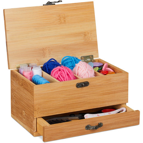 Boîte de couture, 4 compartiments & tiroir, avec couvercle, poignée à l'apparence antique, sans contenu