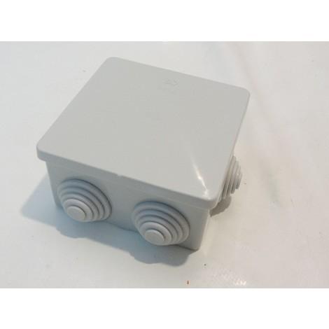 Boîte de dérivation carré 80X80X40mm grise étanche 6 entrées pour gaine 20mm max IP44 SIBOX SIB ADR P03403