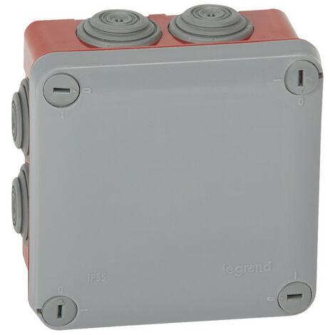 Boîte de dérivation carrée Plexo dimensions 105x105x55mm finition RAL7037 et RAL3000 (092025)