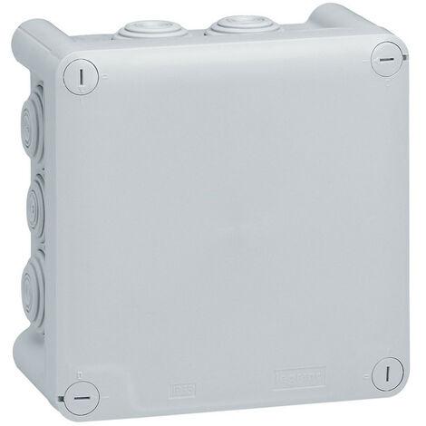 Boîte de dérivation carrée Plexo dimensions 130x130x74mm gris RAL7035 (092032)