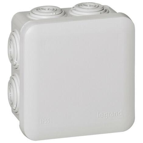 Boîte de dérivation carrée Plexo dimensions 80x80x45mm gris RAL7035 (092012)