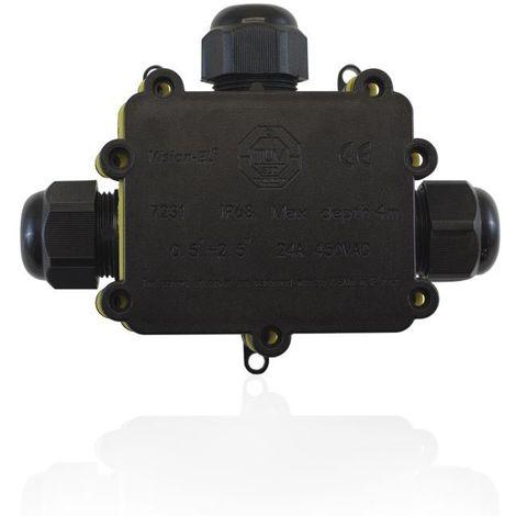 Boite de dérivation étanche IP68 IK08 3 entrées câble électrique Max 24A 250V