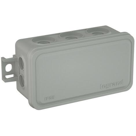 Boite de dérivation Plexo rectangulaire faible encombrement 80x43x34mm ave 10 embouts pour câbles et tubes 7mm à 16mm (092004)