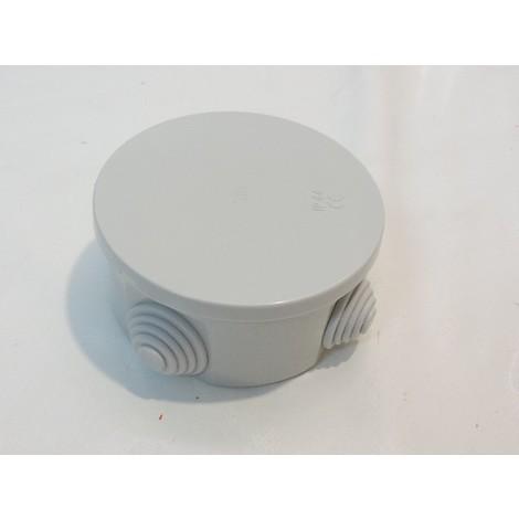 Boîte de dérivation ronde Ø 80mm grise étanche 4 entrées pour gaine 20mm max embouts à gradins IP44 SIBOX SIB ADR P03402