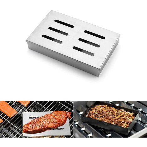 Boîte de Fumeur, boîte de Barbecue en Acier Inoxydable, copeaux de Fumage et Fumeurs de Bois avec Couvercle à charnière pour Barbecue en Plein air