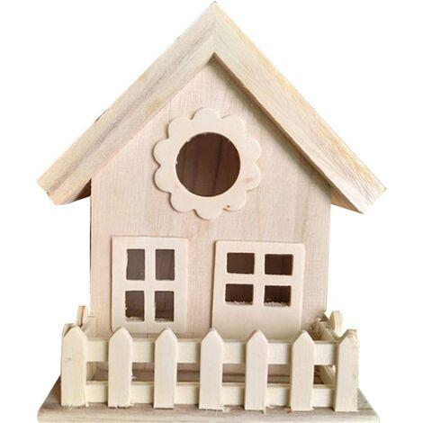 Boîte de nidification décorative en bois résistant aux intempéries avec mangeoire pour oiseaux