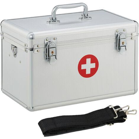 Boîte de premiers secours, Boîte de pansements en alu lanière de transport, vide, HLP: 19x32x20 cm, argenté