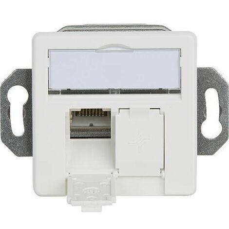 Boite de raccordement, blanc alpin AMJ45/B 8/8 K encastré/50 Cat. 6A(IEC) montage au sol, 2xRJ45, 1 piece *BG*