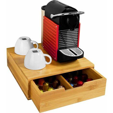 Boîte de rangement à tiroirs pour capsules de thé et café en bambou, Boîte à Capsules de Café, Boîte à théL30xP31xH9,5cm SoBuy® FRG70-N
