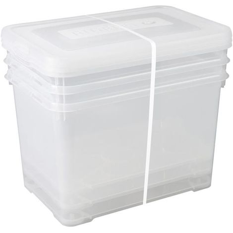 plastique transparent toy box, Lot de 2 x 65 litres 65L boîte de rangement avec pliant couvercle