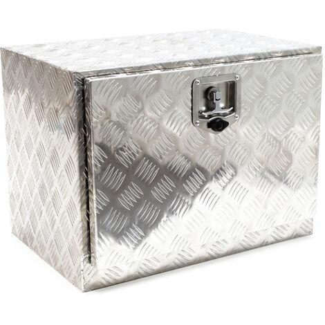 Boîte de rangement Aluminium avec Serrure Remorque Chargement Caisse à outils Malle de transport Box
