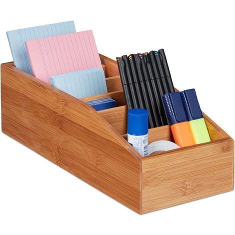 Boîte de rangement bambou, 6 compartiments, organiseur de bureau, salle de bain, cuisine, 10x14x35 cm, nature