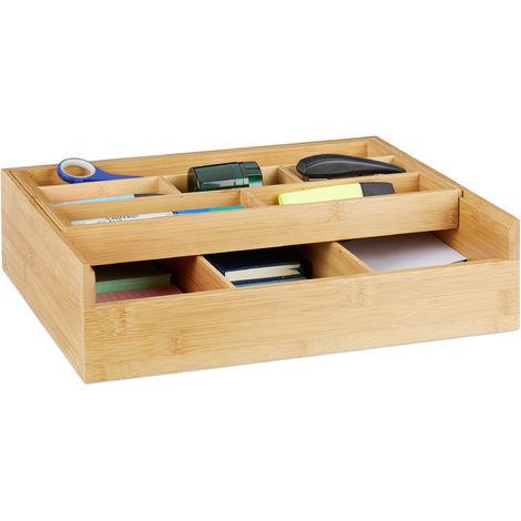 Boîte de rangement bambou, 9 compartiments, organiseur pour tiroir, ouvert, bureau, 9,5 x 37 x 31,5 cm, nature