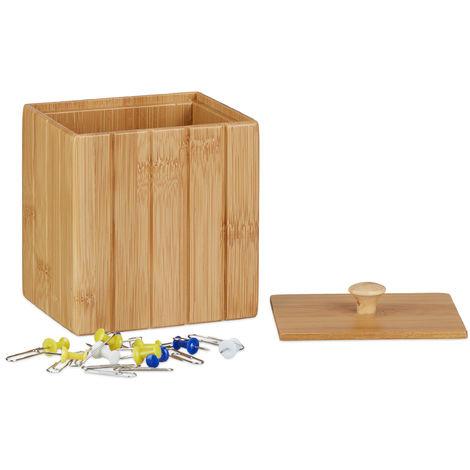 Boîte de rangement bambou couvercle boîte en bois rangement cuisine bijoux HxlxP: 11,5 x 10 x 8 cm, nature
