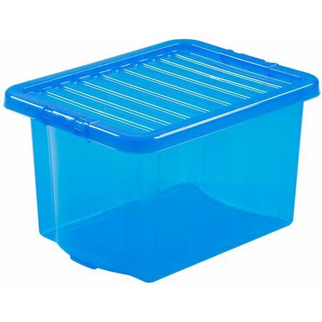 Boîte de rangement bleue   24 l   Avec couvercle   Certeo - Bleu