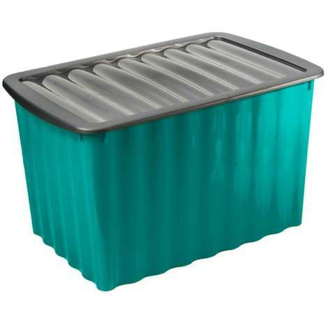 boite de rangement bleue 58l avec couvercle 8207. Black Bedroom Furniture Sets. Home Design Ideas