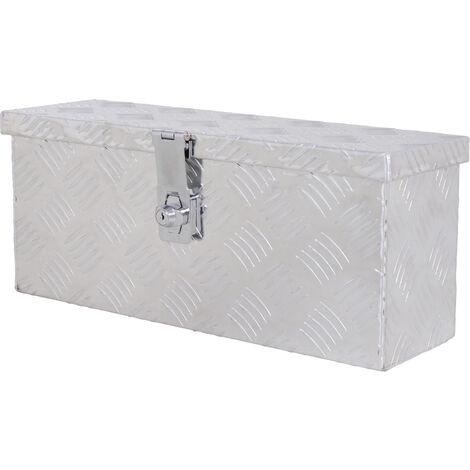 Boite de rangement - boîte à outils en aluminium - caisse à outil alu. verrouillage clé dim. 50L x 15,5l x 20,5H cm - Gris