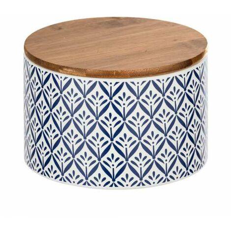 """Boite de rangement céramique, """"papier peint bleu"""", couvercle hermétique bambou, Lorca 0,75 l"""