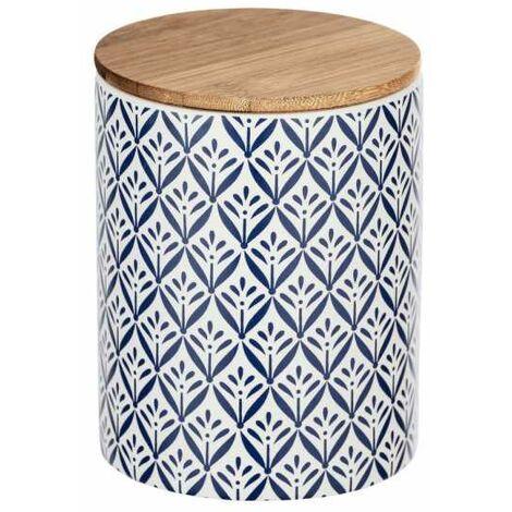 """Boite de rangement céramique, """"papier peint bleu"""", couvercle hermétique bambou, Lorca 0,95 l"""