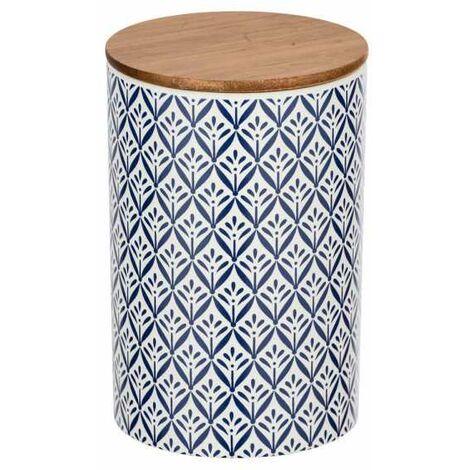 """Boite de rangement céramique, """"papier peint bleu"""", couvercle hermétique bambou, Lorca 1,45 l"""