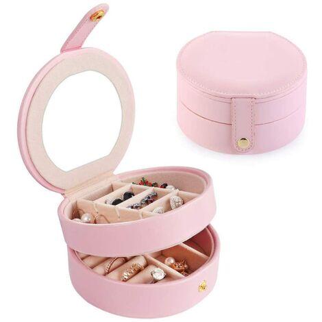 Boîte de rangement de bijoux Boîte à bijoux Boîte à bijoux Petite boîte à bijoux multicouche en cuir portable, rose