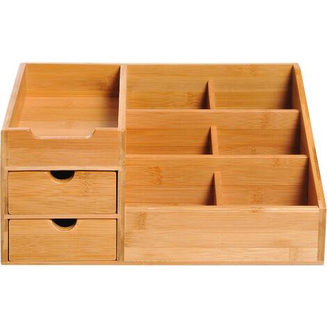 """main image of """"Boite de rangement de bureau - organiseur de bureau - 7 compartiments, 2 tiroirs - bambou verni"""""""