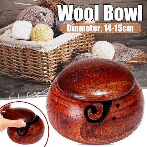 Boîte de rangement de couture en bambou avec couvercle à tricoter crochet de fil bol boîte de rangement de fil support de fil