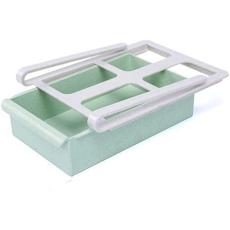 Boîte de rangement de type tiroir de réfrigérateur à poignée polyvalente - Vert